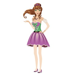 Brunette in purple dress vector image
