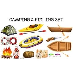 Camping and fishing equipments vector