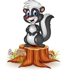 Cartoon funny skunk on tree stump vector image vector image