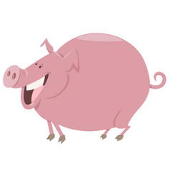 cartoon pig farm animal character vector image vector image