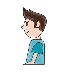 Color pencil cartoon side view half body man with vector