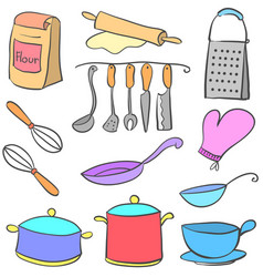 Colorful kitchen equipment doodle style vector