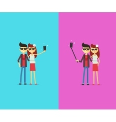 Couple with selfie stick cartoon characters vector