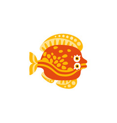 cute flounder fish hand drawn vector image vector image