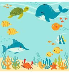 Cute underwater design vector
