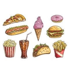 Fast food sketch isolated icons vector