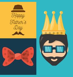 Fathers day card with decoration elements vector
