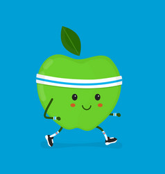 fitness sport run apple modern flat vector image vector image