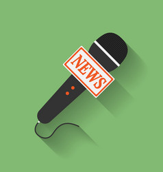 Icon of microphone press or news microphone flat vector