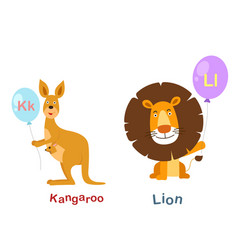 Isolated alphabet letter k-kangarool-lion vector