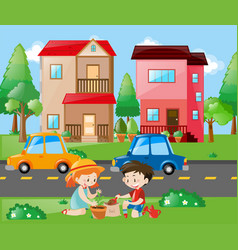 kids planting tree in the yard vector image