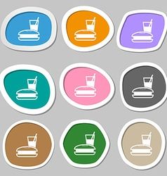 lunch box icon symbols Multicolored paper stickers vector image