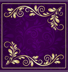 luxury gold pattern frame on a beautiful violet vector image