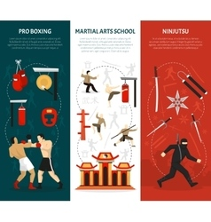 Martial arts vertical banners set vector