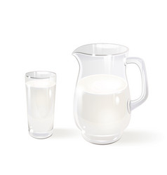 milk in a glass jug and a glass vector image vector image