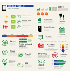 mobile smart phone infographic vector image vector image