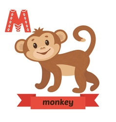 Monkey M letter Cute children animal alphabet in vector image