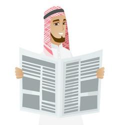 muslim businessman reading newspaper vector image