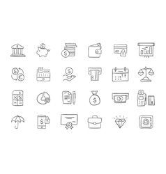 Set of finance and business icons vector image