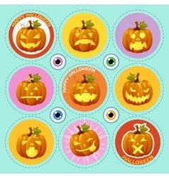 Set of nine icons pumpkin with different face vector