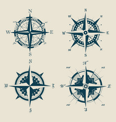 set of old or retro compass or wind rose vector image vector image