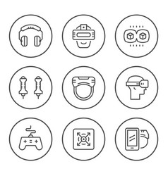 set round line icons of virtual reality vector image
