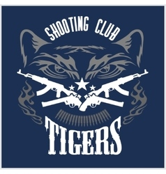 Shooting club - emblem with crossed guns and tiger vector
