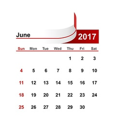 Simple calendar 2017 year june month vector