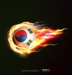 South korea flag with flying soccer ball on fire vector