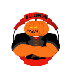 Strong pumpkin for halloween powerful vegetable vector