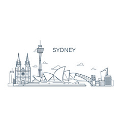 sydney city line skyline with buildings and vector image