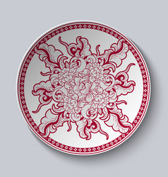 unusual red and white floral pattern applied to vector image vector image