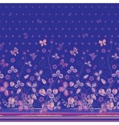 Vertical seamless spring dark blue floral pattern vector