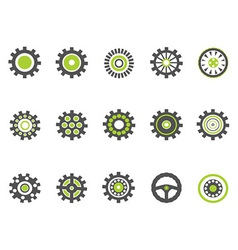 gear and cog iconsgreen series vector image