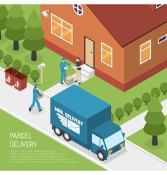 Post office parcel delivery isometric poster vector