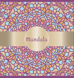 Vintage card with mandala pattern and ornament vector