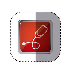 Red emblem stethoscope instrument icon vector