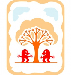 cartoon devils and tree vector image