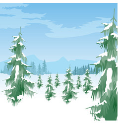 Beautiful winter landscape with coniferous trees vector