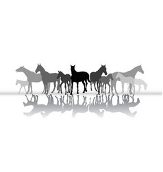 Standing horses silhouette with reflection vector