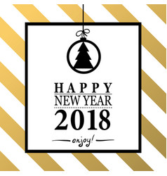 2018 happy new year trendy and minimalistic card vector