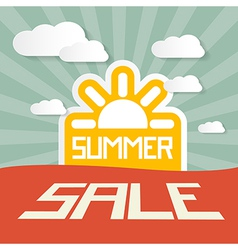 Retro summer sale paper title on landscape vector