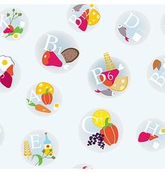 Vitamins and healthy eating symbols seamless vector image