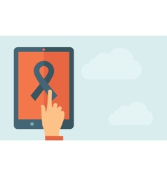 Touch screen tablet with freedom ribbon icon vector