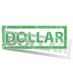 Green outlined dollar stamp vector