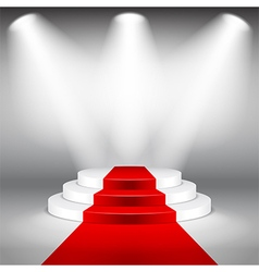 Illuminated stage podium with red carpet vector