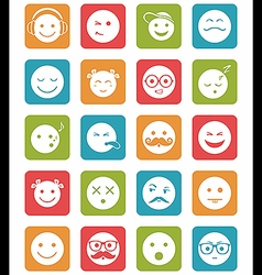 Icons set 20 faces emotional and kids smiles in vector