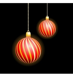 Two christmas red spheres vector