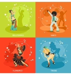 Dance 4 flat shadow icons square vector