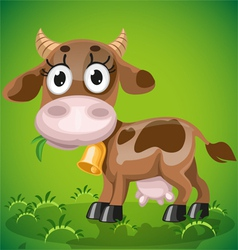 Cute baby cow chewing on a juicy grass vector